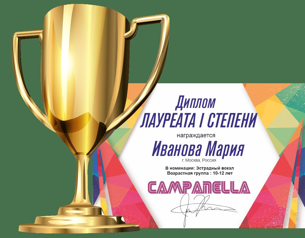 Диплом и кубок всем участникам конкурса